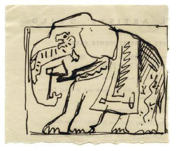 Maqbool Fida Husain-Untitled (A Group of Five Assorted Drawings)-1964