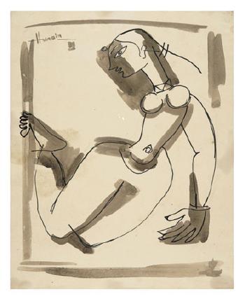 Maqbool Fida Husain-Female Figure-1950