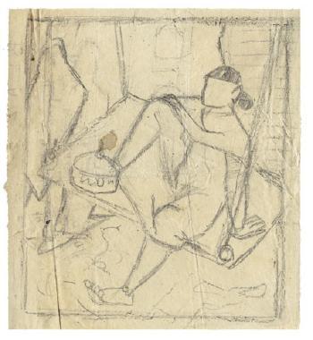 Maqbool Fida Husain-Untitled (A Group of Three Sketches)-1950