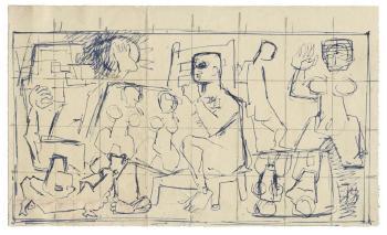 Maqbool Fida Husain-Sketch for 'Man'-1951