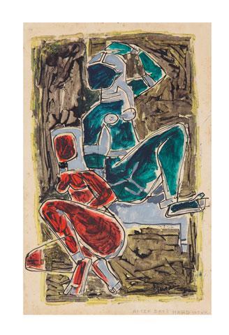 Maqbool Fida Husain-After Day's Hard Work-1950