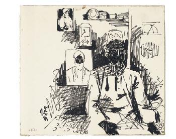 Maqbool Fida Husain-Untitled (A Group of Five Drawings)-1960