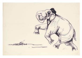 Maqbool Fida Husain-Elephant-1960