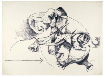 Maqbool Fida Husain-Elephant and Tiger-1960