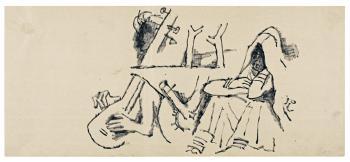 Maqbool Fida Husain-Three Rajasthan Drawings-1960