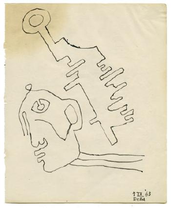 Maqbool Fida Husain-Untitled (Three Drawings)-1963