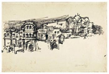 Maqbool Fida Husain-Rajasthan Landscape-1961