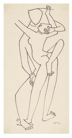 Maqbool Fida Husain-A Drawing from the Khajuraho Series-1954