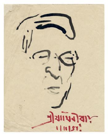 Maqbool Fida Husain-Portrait of Jamini Roy-1951