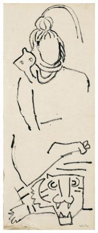Maqbool Fida Husain-Untitled (Two Drawings)-1960