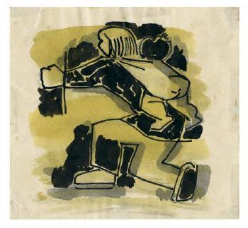 Maqbool Fida Husain-China (Three Impressions)-1950
