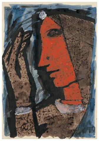 Maqbool Fida Husain-Lady in Profile-1958