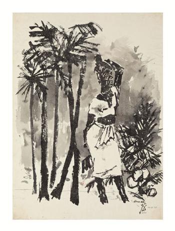Maqbool Fida Husain-Kerala Woman-1967