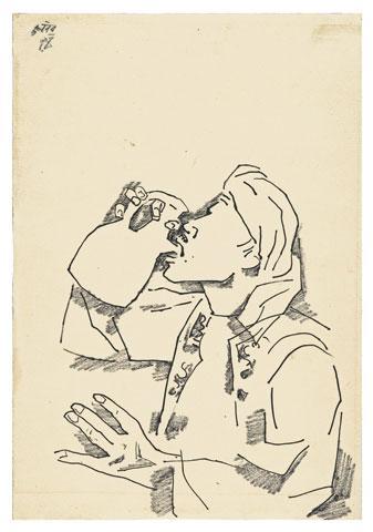 Maqbool Fida Husain-Man Drinking-1950