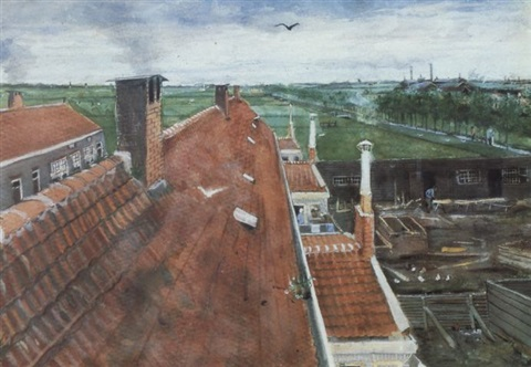 Vincent van Gogh-Les toits, 1882-1882