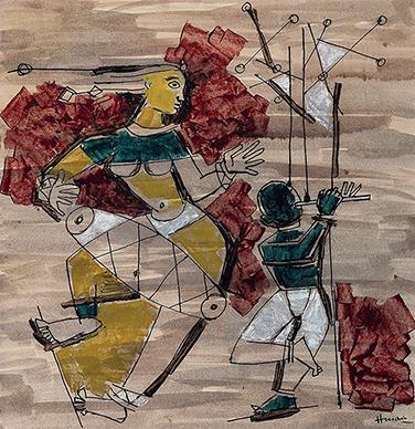Maqbool Fida Husain-Untitled (Le Dieu Shiva Dansant)-