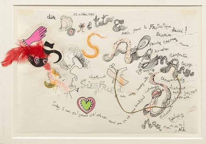 Niki de Saint Phalle-Lettre a Dorothea et Siegfried, (Chere Dorette Salzmann), (Danksagung an Dorothea und Siegfried Salzmann)-1980