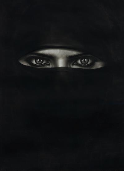 Robert Longo-Study for Barbara in a Burka-2014