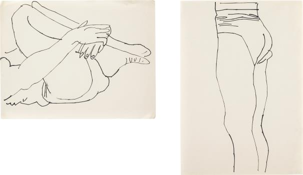 Andy Warhol-Two works: (i) Reclining Figure with Legs to Chest; (ii) Standing Figure-1956