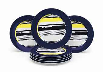 Roy Lichtenstein-A Set Of Eight Porcelain Plates-1990