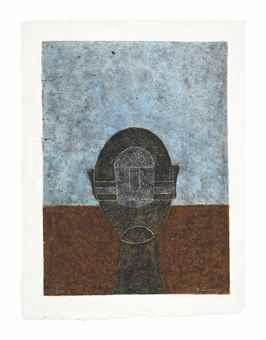 Rufino Tamayo-Cabeza Sobre Fondo Azul-1984