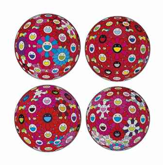 Takashi Murakami-Four Prints By The Artist: Flowerball (3D) - Tum Red; Flowerball (3D) - Red, Pink, Blue; Flowerball (3D) - Blue, Red; Flowerball (3D) - Red Ball-2013
