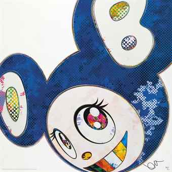 Takashi Murakami-Four Prints By The Artist: (i) And Then (A Deep Ocean of Ultramarine); (ii) DOB in Pure White Robe (Pink & Blue); (iii) And Then x 727 (Ultramarine: GUNJO); (iv) DOB in Pure White Robe (Navy & Vermilion)-2013