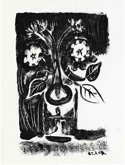 Pablo Picasso-Two Prints By The Artist : (i) Flowers in a Glass No. 6; (ii) Small Pot of Flowers-1950