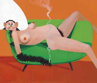 George Condo-Nude On Sofa-2006