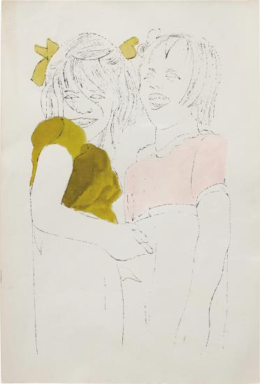 Andy Warhol-Two Girls Laughing-1954