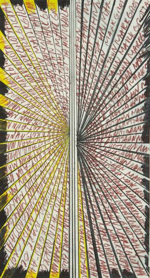 Mark Grotjahn-Untitled (Butterfly For The Kitchen Black, Yellow And Tuscan Red 45.16)-2013