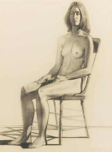 Wayne Thiebaud-Nude In Old Chair (Seated Nude)-1975