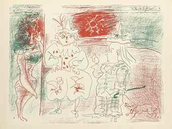 Pablo Picasso-L'Ecuyere Et Les Clowns-1957