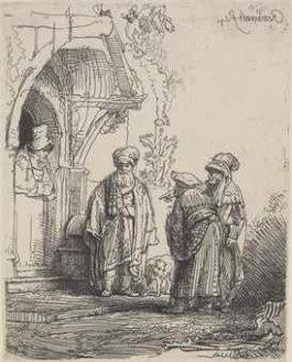 Rembrandt van Rijn-Three Oriental Figures (Jacob And Laban?)-1641