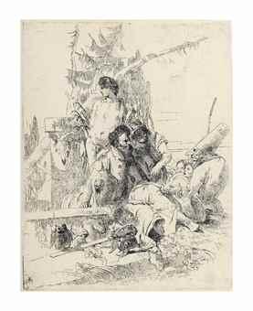 Giovanni Battista Tiepolo-Punchinello Talking To Two Magicians, From: Scherzi Di Fantasia-1740