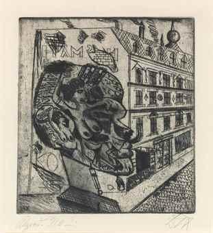 Otto Dix-Syphilitiker, From: 5 Radierungen-1920