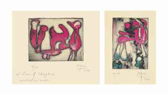 Joan Miro-Voeux D'Aime Maeght Pour 1951; Two greeting cards (D. 72 & 74)-1951