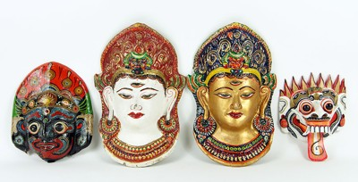 A Collection Of Three Balinese Papier Mache Masks-