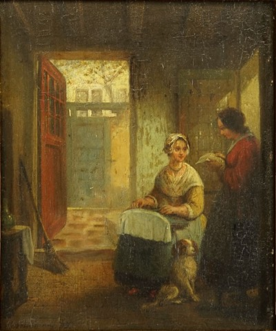 Emmanuel Noterman-Interior with Two Women-