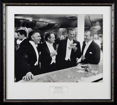 Slim Aarons-Kings of Hollywood: Clark Gable, Van Heflin, Gary Cooper, and James Stewart enjoy a joke at a New Year's Party at Romanoff's, Los Angeles, 1957-1957