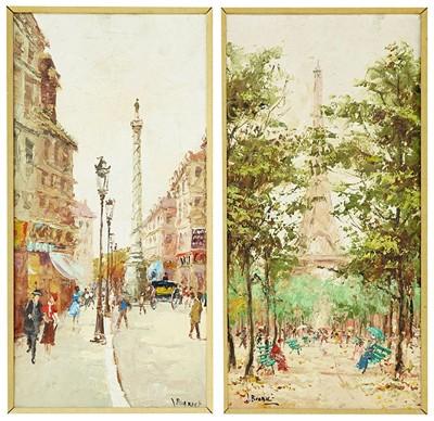 J Buarnet - Two Parisian Street Scenes-