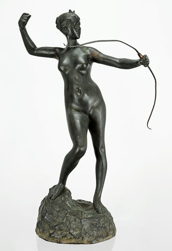 A Patinated Bronze Figure of Diana the Huntress-
