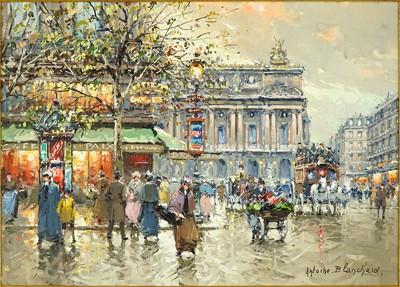Antoine Blanchard-Place de L'Opera Cafe de la Paix Paris 1900-