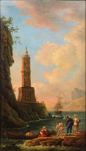 Charles Francois Grenier Lacroix de Marseille-Attributed to Charles Francois Grenier Lacroix de Marseille - View of the Lighthouse-