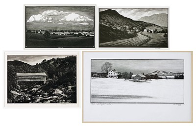 Asa Cheffetz-Four Wood Engravings: 'Winter in Southampton', 'Down Montgomery Way', 'Clouds Over the Valley', and 'Covered Bridge'-