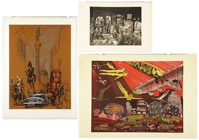 Warrington Colescott-'Rembrandt Bankrupt' and 'Airport'-1977