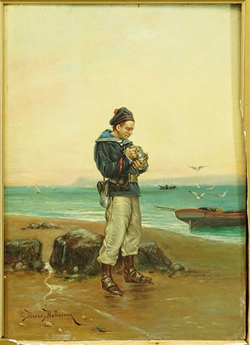 Etienne Prosper Berne-Portrait of a French Marine-