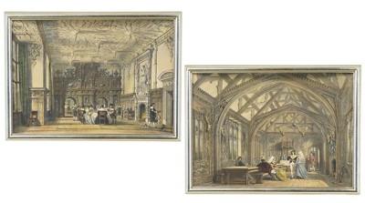 Joseph Nash-Banqueting Room, Bramhall, Cheshire' and 'Hall, Crewe Hall, Cheshire'-