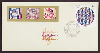 Yaacov Agam-A Signed Envelope: 1980 French First Day Issue postage stamp-