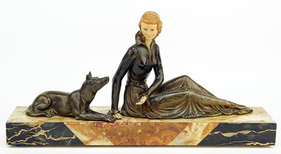 Artist Unknown - Art Deco Maiden and Dog-